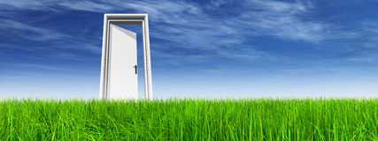 White door in grass with sky background. White door in green grass with sky background banner Stock Photo