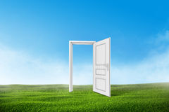 White door on a green grass field with blue sky. Background Stock Image