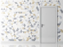 White door on light triangle texture background Royalty Free Stock Photo