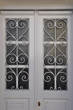 White door metal pattern Stock Photo