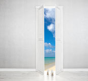 White Door open to the perfect beach stock image