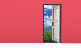 White door opened in beautiful nature Royalty Free Stock Images