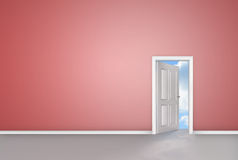 White door opening to reveal blue sky Royalty Free Stock Photography