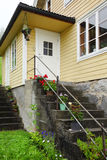 White door and stairs of Norway house Royalty Free Stock Photo
