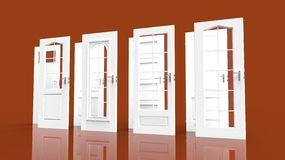 White doors choice. Choice for a new door Stock Images