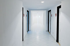 White doors and corridor Royalty Free Stock Image