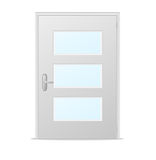 White doors with glass panels. On  white Royalty Free Stock Photo