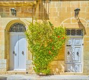 The white doors in Mosta town, Malta. The white entrance doors of residential houses in Mosta town, Malta stock image