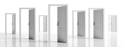 White doors opened on white background, banner. 3d illustration. Business open opportunities concept, White doors opened on white background, banner. 3d stock illustration