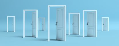 White doors opened on blue background, banner. 3d illustration. Business open opportunities concept, White doors opened on blue pastel background, banner. 3d vector illustration