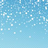 White dots Christmas background. Subtle flying sno. W flakes and stars on blue transparent background. Bizarre winter silver snowflake overlay template. Elegant stock illustration