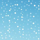 White dots Christmas background. Subtle flying sno. W flakes and stars on blue transparent background. Alive winter silver snowflake overlay template. Fresh vector illustration