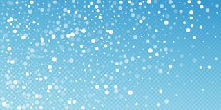 White dots Christmas background. Subtle flying sno. W flakes and stars on blue transparent background. Beautiful winter silver snowflake overlay template vector illustration