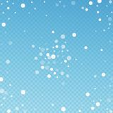 White dots Christmas background. Subtle flying sno. W flakes and stars on blue transparent background. Actual winter silver snowflake overlay template. Ecstatic royalty free illustration