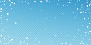 White dots Christmas background. Subtle flying sno. W flakes and stars on blue transparent background. Beautiful winter silver snowflake overlay template royalty free illustration