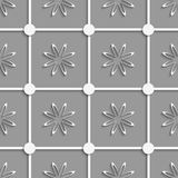 White dots and flowers cut out o paper Royalty Free Stock Photography