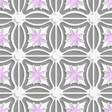 White dots and pink flowers cut out o paper. Abstract 3d seamless background. White dots and pink flowers cut out o paper with shadow on gray background Royalty Free Stock Photo