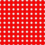 White dots on red background seamless pattern. Hand drown vector backdrop Royalty Free Stock Image