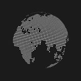 White dotted 3d earth world map globe in black background. Vector illustration.  Royalty Free Stock Image