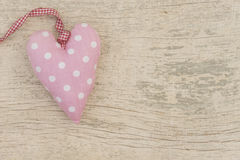 White dotted pink fabric heart Royalty Free Stock Photos