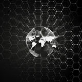 White dotted world globe, connecting lines and dots on black color background. Chemistry pattern, hexagonal molecule Royalty Free Stock Images