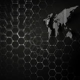 White dotted world map, connecting lines and dots on black color background.  Royalty Free Stock Photo