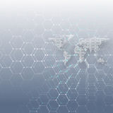 White dotted world map, connecting lines and dots on blue background. Chemistry pattern, hexagonal molecule structure Royalty Free Stock Photography