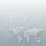 White dotted world map, connecting lines and dots on gray color background. Chemistry pattern, hexagonal molecule Royalty Free Stock Images