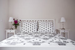 White double bed Royalty Free Stock Photo