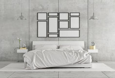 White double bedroom Royalty Free Stock Images