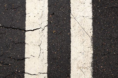 White Double-Line Markings on Road Stock Photos