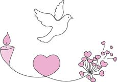 Illustration of love and peace. A white dove with a candle, a heart and a flower to illustrate the commemoration, peace and love Stock Images
