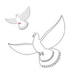 White Dove coloring book. Flying white pigeon. Contour bird wavi Stock Images