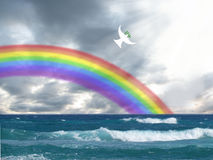 White dove flying to the light with olive leaf and rainbow christian symbol of peace and holy spirit. White dove flying to the light with olive leaf and rainbow Stock Image