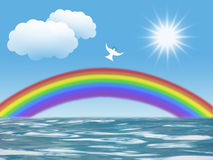 White dove flying to sun with olive leaf rainbow clouds christian symbol of peace and holy spirit. White dove flying to sun with olive leaf rainbow and clouds Royalty Free Stock Image