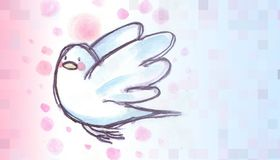 White dove flying, watercolor illustration with name Stock Photos