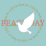 White Dove and Olive Branch Poster. Stock Photo