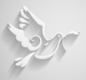 White Dove. Paper stylized Peace Dove with olive branch. Vector illustration. Stock Photos