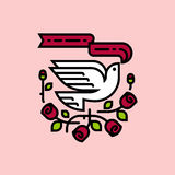 White dove and red roses. Neo traditional American tattoo style Stock Photos