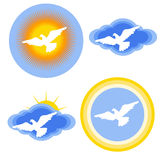 White dove stickers set Stock Photos