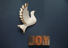 White dove with the word joy Stock Image