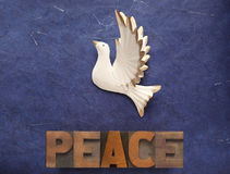 White dove with the word peace Royalty Free Stock Images