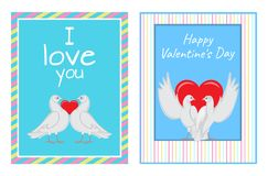 White Doves Couples with Heart Illustrations Set. Gorgeous white doves couples in love with big red heart between or behind them isolated cartoon flat vector Royalty Free Stock Photo