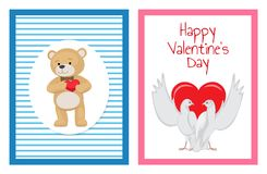White Doves Couples with Heart Illustrations Set. Gorgeous white doves couples in love with big red heart between or behind them isolated cartoon flat vector Stock Photography