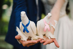White doves decorated with ribbons on hands as symbol peace Royalty Free Stock Photo