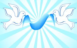 White doves holding blue ribbon. vector Stock Image
