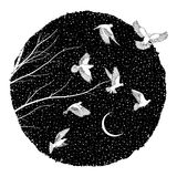 White Doves at night. Artistic ink illustration of white doves flying at night with tiny stars in the background and tree branches royalty free illustration