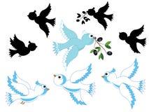 White doves set Stock Photography
