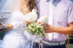White doves. Slim beautiful newlyweds holding white doves. Close up with rose bouquet Royalty Free Stock Photo