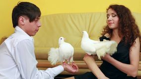 White Doves And A Young Couple. A young man and girl sitting on the floor and keep the hands of white doves. Two frames stock video